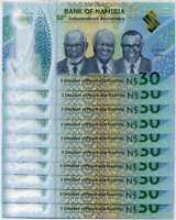NAMIBIA 30 DOLLARS INDEPENDENCE COMM. 2020 P NEW POLYMER UNC LOT 10 PCS