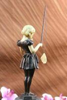 Signed Preiss Little Girl Fishing Bronze Statue Sculpture Figurine Art Deco Sale