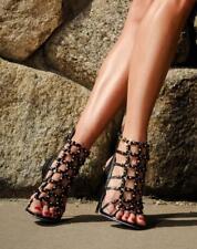 994d1544c647  695 New SOPHIA WEBSTER Black 37.5 BRANDY Leather Caged Sandals Shoes