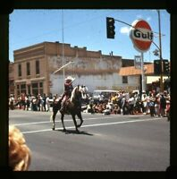 35mm Slide 1971 Kodachrome Cowboy on Horse Parade Gulf Gas Station