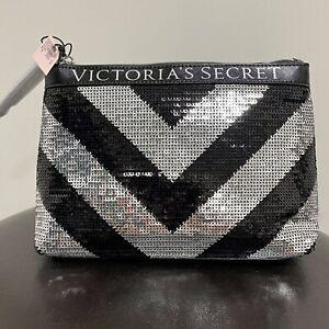 Victorias Secret Black Silver Sequin Cosmetics Bag NWT Zipper Closure