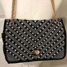 Black Rhinestone Studs Shoulder Bag Handbag Bling Large Faux Woven Leather Glam