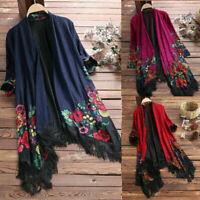 Long Coat Loose Jacket Floral Vintage Cardigans Women Boho Sleeve Shawl Kimono