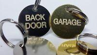 Engraved Key Label Fob Tag - Shed Garage Front Back door Gate etc. Brass Steel