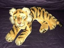 STEIFF  TIGER  LYING  VINTAGE  MID-CENTURY  MOHAIR  NO TAGS OR BUTTON  CLEAN 11""