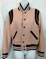 Saint Laurent Bomber Jacket Pink And Black Wool Snap Size F – 38
