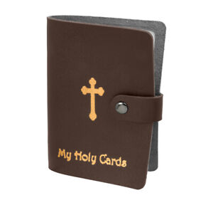 Brown Leatherette Holy Card Holder