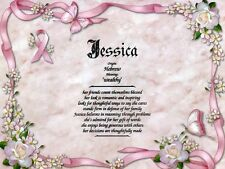 """""""Pink Bow"""" Name Meaning Prints Personalized (Inspirational, Breast Cancer)"""