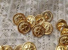 LOTTO 6 MINI bottoni gioiello ORO FIORE QUADRIFOGLIO vintage ANNI60 BUTTON