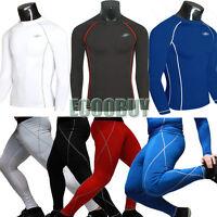 Mens Base Layer Skins Tights Thermal Compression T Shirt Top Fitness Long Pants