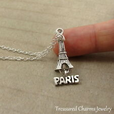 Silver Paris Eiffel Tower Charm Necklace - France Europe Landmark Jewelry NEW