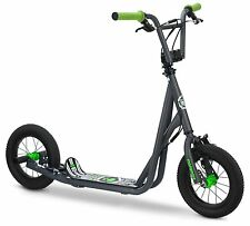 Kids Scooter BMX Freestyle 12 Inch Air Tire Wheels Wide Foot Base Toys Grey Gray