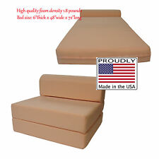 Full Size Peach Sleeper Chair Folding Foam Beds 6 x 48 x 72 High Density Foam