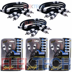 Three (3) Stinger SI826 RCA Interconnect Audio Cable 6 ft for 6-Channel install