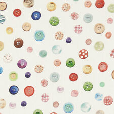 Clarke and Clarke Button Box Cream Curtain Upholstery Craft Cotton Fabric