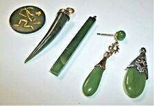 New listing Vintage Green Jade Pendant Lot Genuine Simulated Italian Horn Teardrop Long Cube