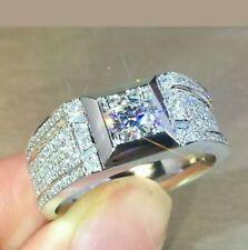 14k White Gold Finish Men's Engagement Wedding Ring 3.00ct Round Cut Diamond