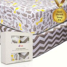 2Pk Crib Fitted Sheets Anti-Shrink 100% Soft Cotton Jersey Knit Bedding for Baby