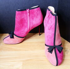 Christian Louboutin ARNOEUD Colorblock Suede Bow Ankle Booties Boots Shoes 38