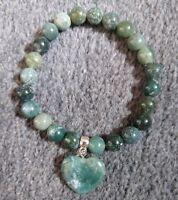 green moss agate crystal 8mm stone bead healing bracelet heart