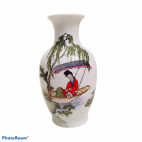 Porcelain Vase Oriental Chinese Hand Painted Chinoiserie Decor AUTHENTIC MACAU