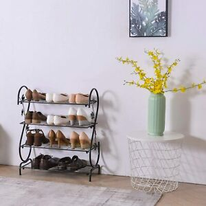 Vintage Shoes Rack Black Open Shelf Metal Storage Stand Shabby Chic Hall Bench