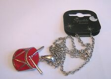 pendant approx 44 - 52 cm long Lovely silver tone metal chain necklace red drum