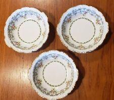 3 Vintage J.Pouyat Limoges Fruit Berry Bowls Floral/Vine w/gold edge France