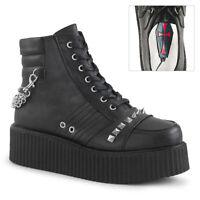 Demonia V-CREEPER-565 Men's Black Vegan Leather Platform Oxford Creeper Booties