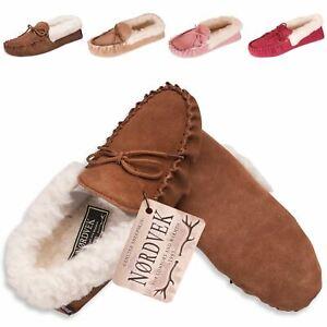 Nordvek Womens Genuine Suede Moccasin Slippers Sheepskin Wool Soft Sole Ladies