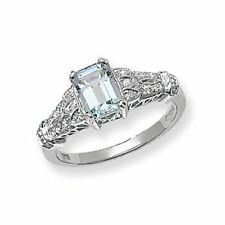 Unbranded Aquamarine Solitaire with Accents Fine Rings