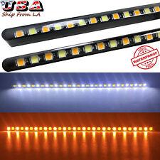 Ultra Slim Universal White/Amber Super Bright LED Turn/Daytime Running Lights