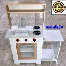 Cucina in Legno Giocattolo Grande per Bambini 101,5X34X86 BIANCO Ottima Qualità