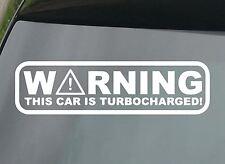Warning, Turbocharged Funny Car/Window JDM VW EURO Vinyl Decal Sticker