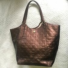 Coach Peyton Op Art Signature Embossed Leather LARGE Tote  F25703