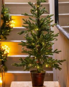 Tree Christmas Led Pre Lit Artificial Small Porch Potted Christmas Tree 90cm/3ft