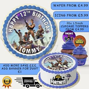 FORTNITE PERSONALISED BIRTHDAY CAKE TOPPER WAFER ICING PAPER NAME AND NUMBER