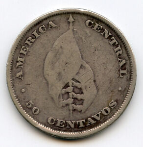 EL SALVADOR 1892 ISSUE FLAG 50 CENTAVOS SCARCE COIN VF.