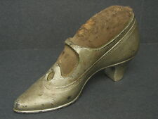 Antique Victorian Sewing Shoe Pin Cushion Plated Brass High Heel