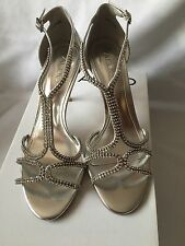 ALDO SILVER Jewelled Mid Heeled Sandals Size 5 (38)