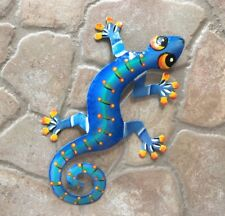 "8"" Gecko Lizard Ff Metal Wall Hanging Tropical Tiki Garden Art Decor Outdoor"