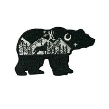 Glitter Bear Wolf Moon Embroidered Patch Iron / Sew-On Applique Travel Souvenir