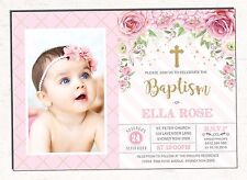 Princess Baptism Invitation Pink Gold Floral Christening Invite Roses Communion