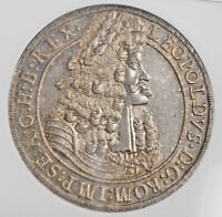"1704/3, Austria, Leopold I ""the Hogmouth"". Silver Thaler Coin. Top! NGC MS-65!"