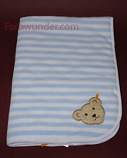 Steiff Nickydecke Babydecke Decke Kuscheldecke Bär hellblau 90 x 60 cm