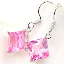 Sweet Holiday Jewelry Platinum Plated Square Pink Kunzite Gems Dangle Earrings