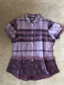 New Burberry London Short Sleeve Check Shirt In Purple Size UK8 RRP$995