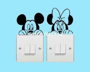 Mickey Minnie mouse Disney vinyl decal children room light switch stickers 0109