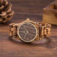Herren Holz elegante Armbanduhr Japanisches Quarzwerk analog Uhr andelholz