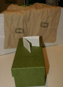 """Authentic Green Gucci Empty Gift Shoe Box 5"""" X 12.5"""" X 4"""" TISSUES 2 BAGS 18"""" X 8"""
